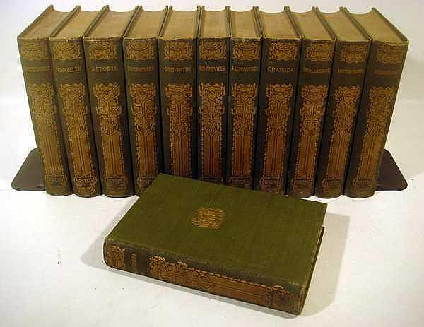 12V VINTAGE WORKS OF WASHINGTON IRVING Alhambra Captain Bonneville Salmagundi Chronicle of the Conquest of Granada Bracebridge Hall Uniformly Bound Standard Library Edition Gilt Lettering Decorative