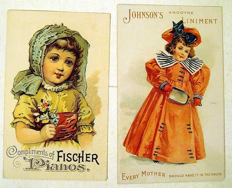 Lot 3083: Fischer Pianos ANTIQUE CHROMOLITHOGRAPH TRADE CARDS POSTCARDS & ADVERTISEMENTS White Sewing Machines Period Costuming Embossed Children Medicinal Pan-American Expo Ireland