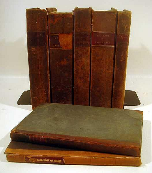 Lot 3051: 7V Pinkerton ANTIQUE LEATHER BOUND LEGAL HISTORY AND REFERENCE Phillips Insurance Evidence Chancery Court Rules Espinassers Reports