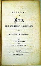 Lot 3178: Andrew J Colvin / Anson Bingham A TREATISE ON RENTS REAL AND PERSON COVENANTS & CONDITIONS 1857 First Edition Antique Law New York History Reference