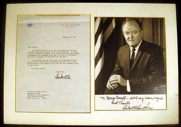 SIGNED HUBERT HUMPHREY LETTER & AUTOGRAPHED PHOTO 1965 Electoral Campaign George Carroll Sergeant-At-Arms New York Democratic State Committee