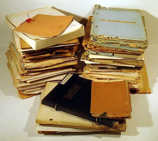 Lot 3320: LARGE COLLECTION OF ORIGINAL ADELINE LEITZBACH MANUSCRIPTS c1930 Screenplays Drama American Film & Literature Poetry Mae West