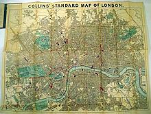 Lot 3004: COLLINS STANDARD MAP OF LONDON NEW SURVEY 1871 Antique Cartography Travel Guide Booklet Fold-Out Color Map British Empire
