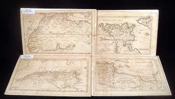 4Pcs Morocco ORIGINAL 18TH CENTURY MAPS OF NORTH AFRICA & MEDITERRANEAN Straits Of Gibraltar Tunisia Tripoli German Siegmund Jacob Baumgarten
