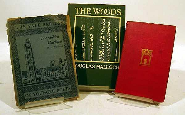 Lot 3165: 9V Author Signed ANTIQUE POETRY, LITERATURE, AND HISTORY First Editions Yale Series The Golden Darkness Oscar Williams In American J.V.A. Weaver Visions And Revisions Wood and Stone John Cowper Powys The Top O' The Column Keith Preston The Living