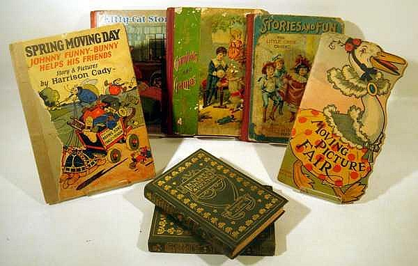 Lot 3181: 7V Signed Wiggin ANTIQUE CHILDREN'S BOOKS Penelope Experiences Chromolithograph Gambols & Games Moving Picture Fair Harrison Cady Stories Jingles Brundage Kitty-Cat