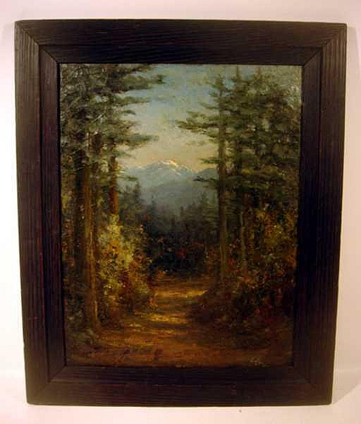 Catherine Newhall FRAMED SIGNED OIL PAINTING c1905 California Forest Landscape Snow-Capped Mountain