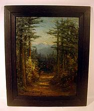 Lot 3189: Catherine Newhall FRAMED SIGNED OIL PAINTING c1905 California Forest Landscape Snow-Capped Mountain