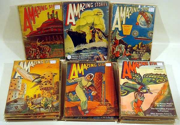 "18Pcs H.G. Wells Jules Verne AMAZING STORIES ""BED SHEET"" PULP MAGAZINES Science Fiction Hugo Gernsback Harl Vincent Garrett P. Serviss A. Hyatt Verrill Fantasy Illustrated Experimenter Publishing Radio Review WRNY"