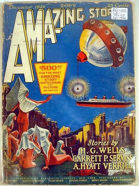 "Lot 3040: 18Pcs H.G. Wells Jules Verne AMAZING STORIES ""BED SHEET"" PULP MAGAZINES Science Fiction Hugo Gernsback Harl Vincent Garrett P. Serviss A. Hyatt Verrill Fantasy Illustrated Experimenter Publishing Radio Review WRNY"