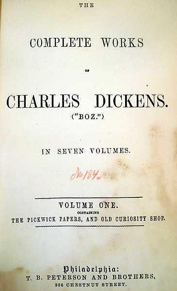 Lot 3047: 17V Robert Louis Stevenson Charles Dickens DECORATIVE ANTIQUE LITERATURE SETS Complete Works Treasure Island Pickwick Papers A Tale of Two Cities Kidnapped The Strange Case Of Dr. Jekyll and Mr. Hyde Gilt Lettering Half-Leather Bindings Marbled Paper