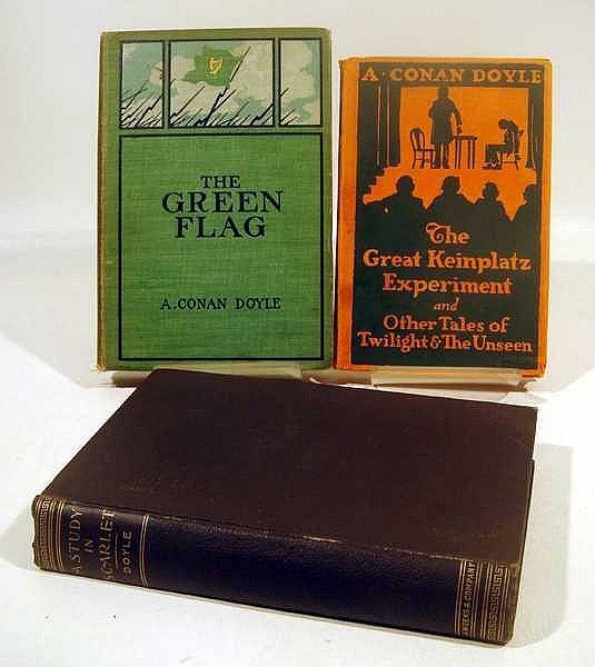 3V Sherlock Holmes ANTIQUE CONAN DOYLE FIRST AND EARLY PRINTINGS Decorative Dust Jacket Arthur Study in Scarlet Keinplatz Green Flag A Case of Identity War Sport Mystery Detective Paranormal Supernatural Romance Science London