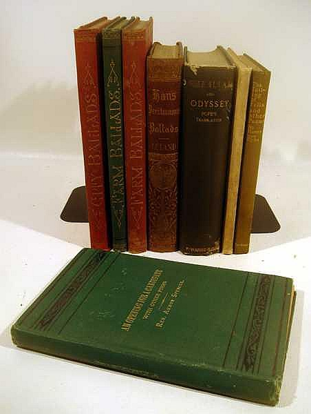 Lot 3137: 8V Will Carleton Alexander Pope DECORATIVE ANTIQUE POETRY Armon Spencer Toiling Of Felix Henry Van Dyke Ballads Charles Leland Complete Greenland's Icy Mountains Reginald Heber Iliad Odyssey Farm City Frontispiece