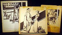 Lot 3034: 3Pcs Harry Kane Kirchner Signed VINTAGE ADVERTISING AND LITERARY ILLUSTRATION AND DESIGN Frontier Americana Cowboys Indians Domestic The Great Meadow Elizabeth Madox Roberts Drafting Pencil Ink Mock-Ups Original Art