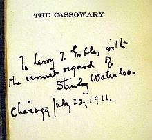 Lot 3035: Stanley Waterloo THE CASSOWARY WHAT CHANCED IN THE CLEFT MOUNTAINS 1906 Author-Signed First Edition Antique Novel