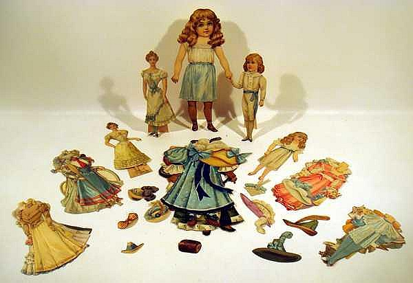 Period Costuming ANTIQUE CHROMOLITHOGRAPH PAPER DOLLS Bicycle Hats Muffs Boy & Girl Victorian