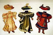 Lot 3037: Period Costuming ANTIQUE CHROMOLITHOGRAPH PAPER DOLLS Bicycle Hats Muffs Boy & Girl Victorian