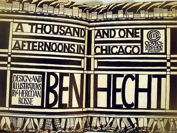 Lot 3031: Ben Hecht A THOUSAND AND ONE AFTERNOONS IN CHICAGO 1922 Author-Signed First Edition Sketches Journalism Herman Rosse Design & Illustrations