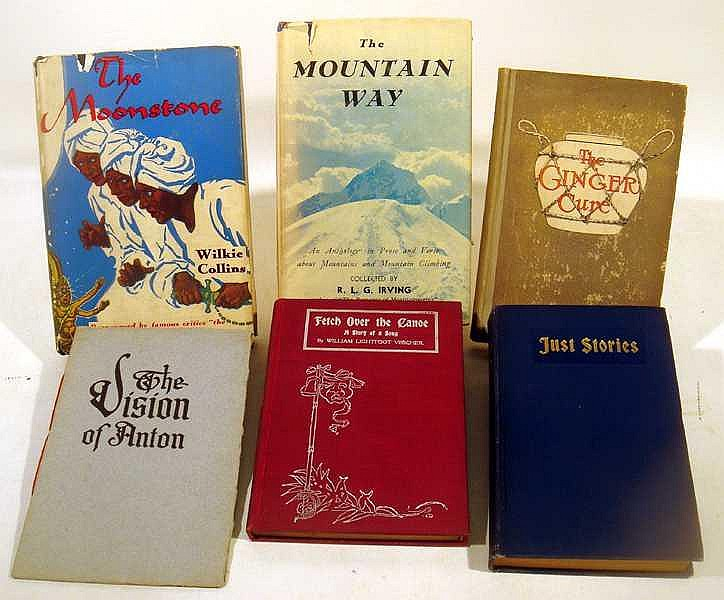 Lot 3033: 9V Dust Jackets Signed COLLECTIBLE ANTIQUE LITERATURE Moonstone Vision Anton Irving Mountain Way O'Donnell Lavengro Borrow Visscher Canoe Lydston Blood Ginger Cure