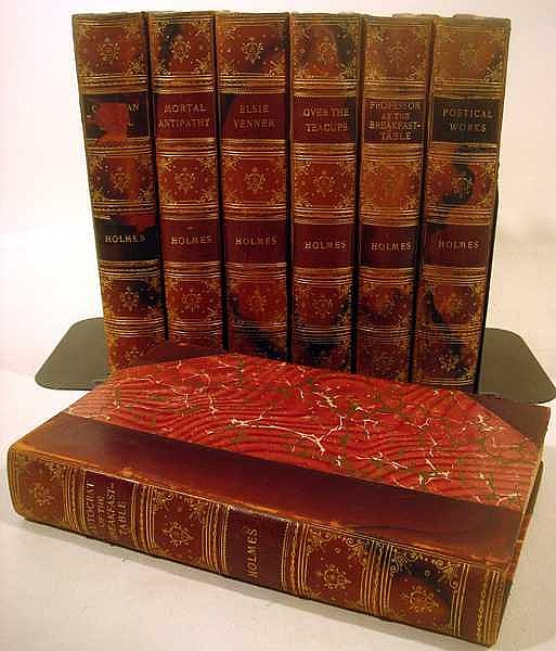 Lot 3072: 7V Uniformly Bound DECORATIVE ANTIQUE WORKS BY NATHANIEL HAWTHORN c1900 Houghton Mifflin Riverside Press Poetical Autocrat Professor Breakfast Table Over Teacups Moral Antipathy Elsie Venner