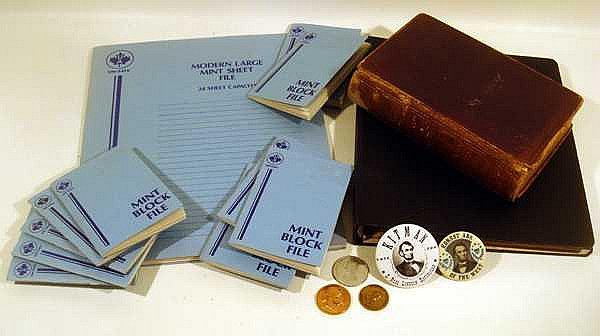 Books Pins LINCOLN EPHEMERA Stamps Unused Plate Blocks Album Credo Emancipation Proclamation Token Coin