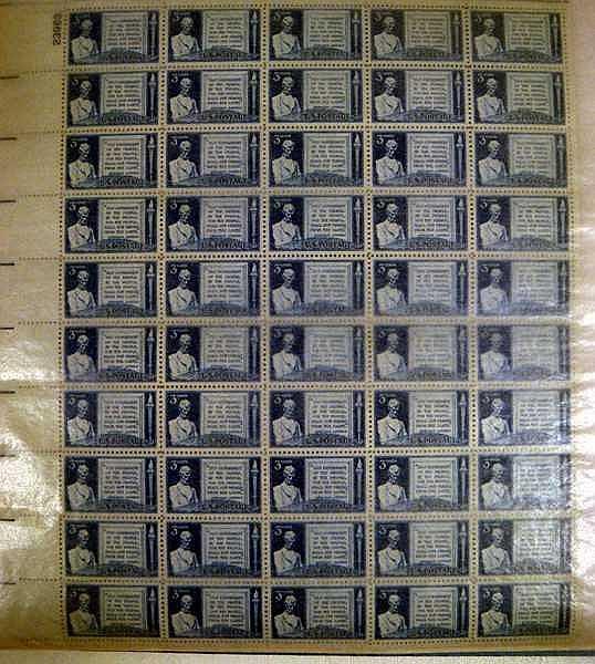 Lot 3075: Books Pins LINCOLN EPHEMERA Stamps Unused Plate Blocks Album Credo Emancipation Proclamation Token Coin