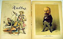 Lot 3078: Chromolithograph ANTIQUE PUCK & JUDGE MAGAZINES & CARICATURES Colliers Italian Opera Politicians France New York State Garfield McKinley