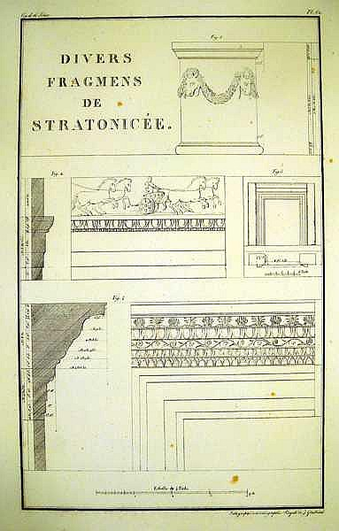 Lot 3170: ANCIENT GREEK ARCHITECTURE IN ANTIQUE LITHOGRAPHS Temples Monuments Ruins Tombs Sarcophagus Aqueduct Plans Cornices