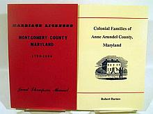 Lot 3102: 11V Colonial Families of Anne Arundel County GENEALOGICAL HISTORY OF MARYLAND Newspaper Abstracts Frederick Montgomery Wills Marriage Records Port Tobacco Charles Deaths Cemetery Monocacy Gazette Advertiser