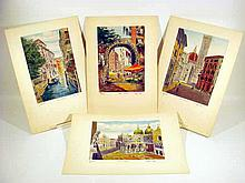 4 Pc. Original Signed Art BELA SZIKLAY ETCHINGS Italian City Scenes Rome Venice Florence Matted Hand-Colored