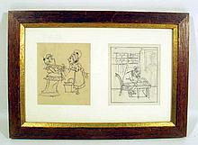 Abel Faivre LADY OF THE HOUSE & SERVANT/MAN DICTATING TO CLERK SEATED AT DESK c1925 Antique Framed Ink Drawing Satire French Society