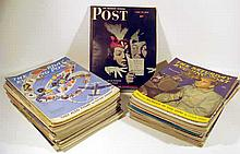 50V Vintage Periodicals 1940s SATURDAY EVENING POST Magazines Norman Rockwell Covers Illustrations P.G. Wodehouse Popular Fiction World War II