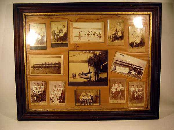 Antique Victorian ROWING CREW TEAM PHOTO COLLAGE Cabinet Cards Great Barrington