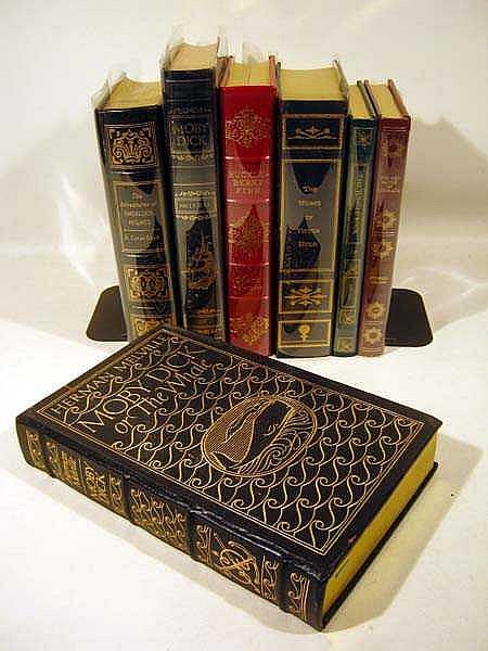 7V Easton Literature Fancy Leather Bindings CLASSIC LITERATURE Melville Twain Huckleberry Finn Victor Hugo Kipling Stephen Crane Conan Doyle Sherlock Holmes