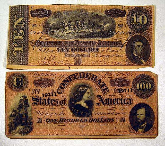 2 Pc. CONFEDERATE MONEY $100 Bill $10 Note Currency CSA Civil War