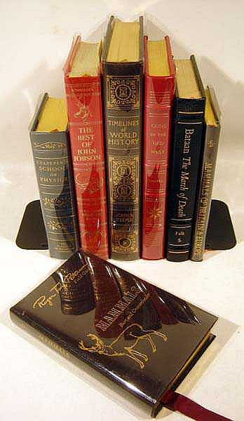 7V Easton Press World History John Jobson FANCY LEATHER BINDINGS Old West Guns WW II Bataan Europe Britain Mammals Culpeper School Of Physick