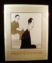 William Auerbach-Levy IRA & GEORGE GERSHWIN POSTER 1977 Museum Of The City Of New York Theatre Collection Vintage Drawing Art