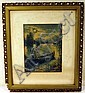 Indian Maiden Native American ANTIQUE COLOR LITHOGRAPH IN PERIOD FRAME Canoe Nature