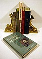 6V & 2Pc LIterary Criticism Anthology MELVILLE TITLES &  BRASS FINISH METAL BOOKENDS Typee Heritage Club Billy Budd Benito Cereno