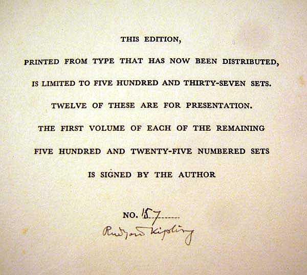 3v Rudyard Kipling Poems 1886 1929 1930 Author Signed