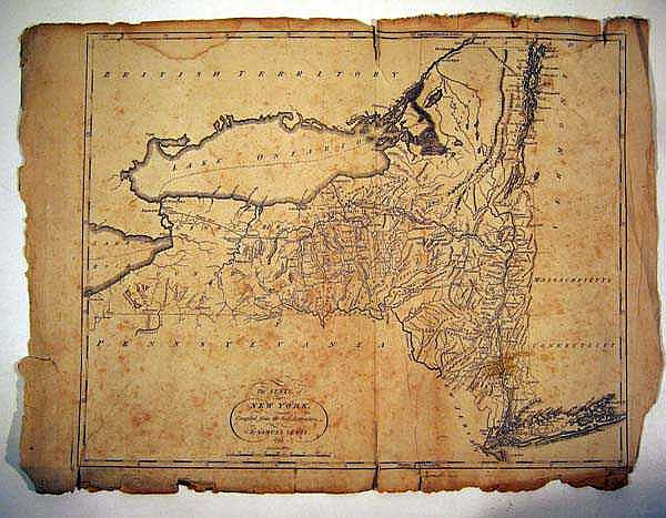 Samuel Lewis ANTIQUE ENGRAVED MAP OF NEW YORK STATE 1795 Antique Cartography Early American History