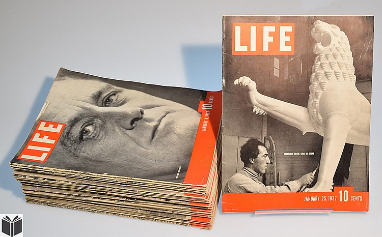 Life Magazine Lot 1937 January February March 11 Issues! Skiing