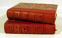 2V OEUVRES COMPLETES DE MOLIERE 1885 Antique French Drama Tartuffe L'Avare Le Misanthrope Hand-Colored Plates Decorative Leather