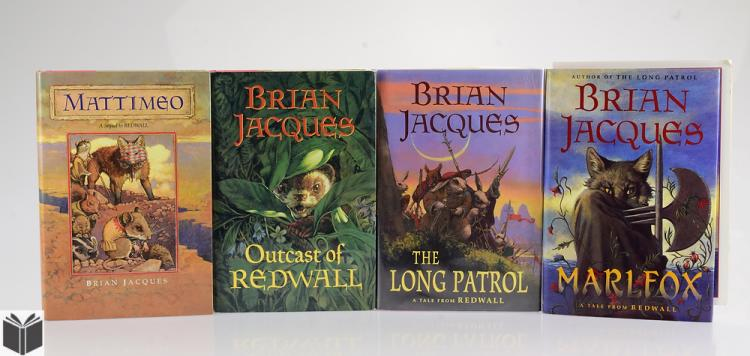 4V BRIAN JACQUES SIGNED COLLECTIBLE REDWALL BOOKS IN DUST JA