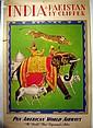 Vintage Air Travel PAN AM WORLD AIRWAYS POSTER Original Charles Baskerville 1949 Clipper Plane India Pakistan Elephant Tiger Rajah Mahout
