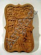 Antique Hand-Carved CHINESE CALLING CARD CASE Camphor Wood 19th Century