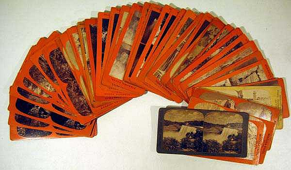 40 Pc. Antique STEREO VIEW CARDS Stereoscope Stereopticon Niagara Falls Watkins Havana Glen