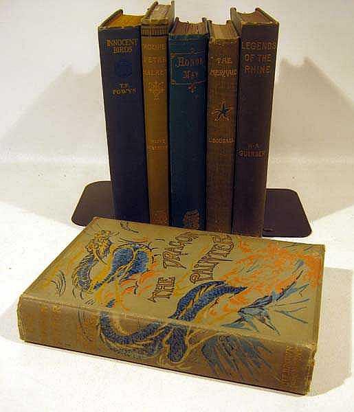 6V Handsome DECORATIVE ANTIQUE LITERATURE Rhine Legends Olive Schreiner T.F. Powys Mermaid