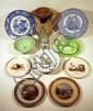 11 Pc. Antique English CHINA & GLASS Apothecary Top Pittsfield Child's Dish Blue Transfer