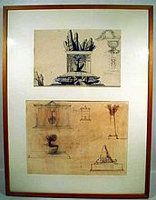Ivan Theimer TWO PROJECTS FOR MONUMENTS 1977/1979 Author-Signed Framed Mixed Media Contemporary Czech Art